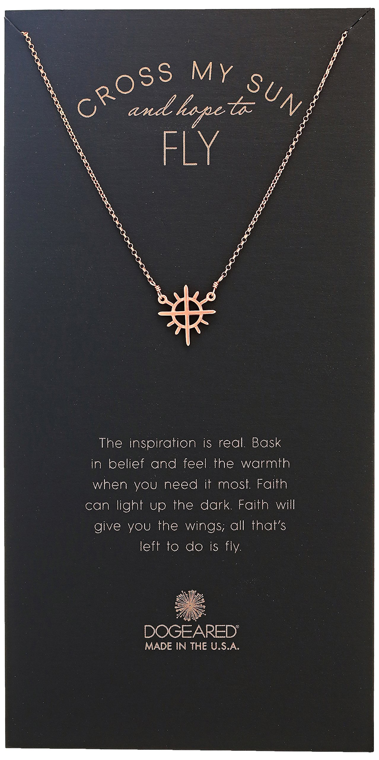 Dogeared Cross My Sun And Hope To Fly, Cross With Rays Charm Chain Necklace, Rose Gold, 16''+2'' Extender