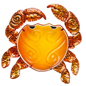 """Patio Eden - Metal and Glass Crab Wall Art - 12.5"""" - Perfect Patio Decoration - Indoor Or Outdoor Hanging Beach Decor - Easy To Hang"""