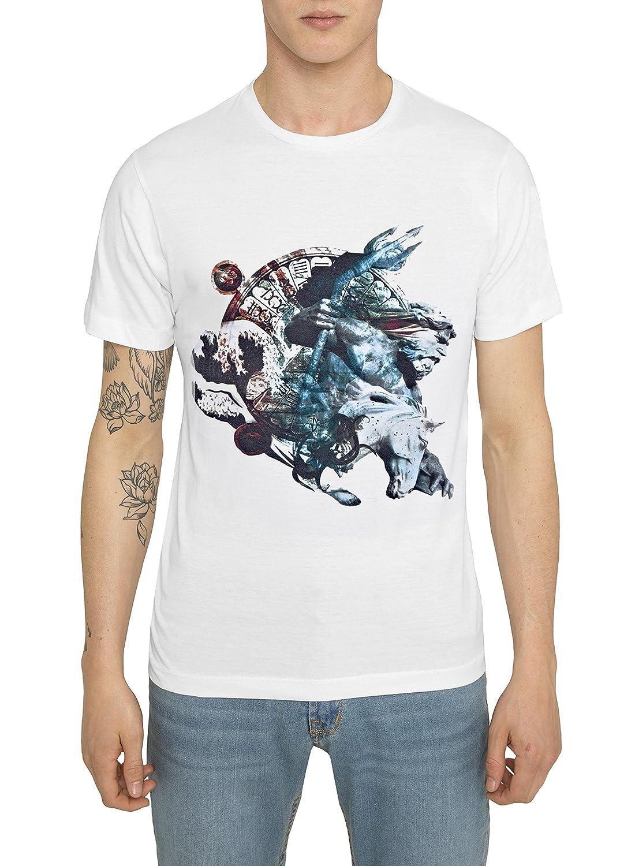 Camisetas de Algodón para Hombre, T Shirt Designer Fashion Rock, Camiseta Negra, Blanca con Estampado Metal 3D - POSEIDON T-Shirt Cool Urban, Cuello Redondo, Manga Corta, Ropa Moda Moderna S M L