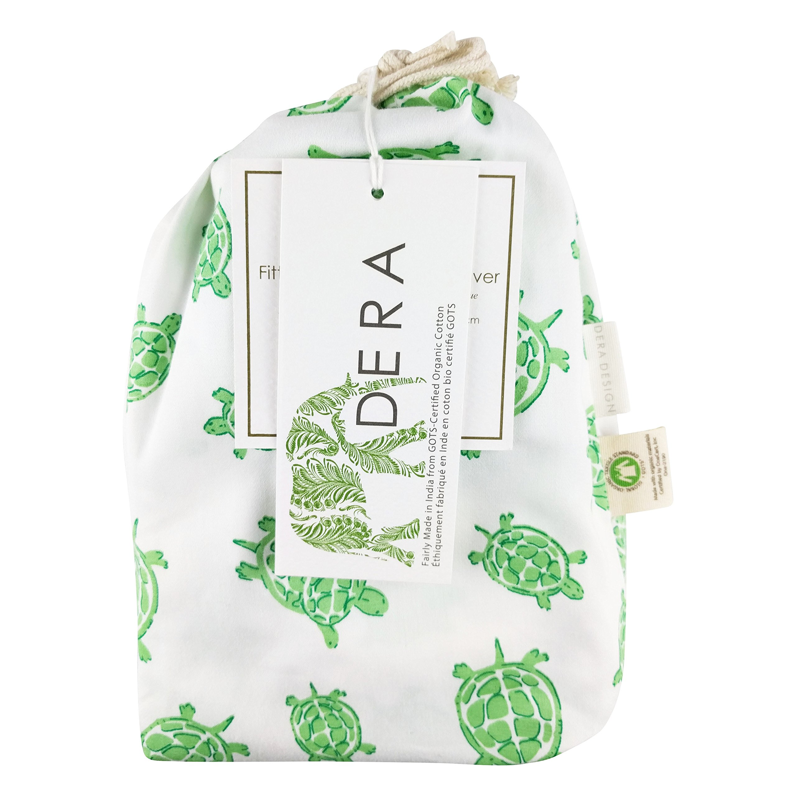 """Organic Cotton Portable Playard Fitted Sheet, 27"""" x 39"""" x 5"""" to Fit Pack 'n Play for Babies & Toddlers, Turtle Print (Green)"""