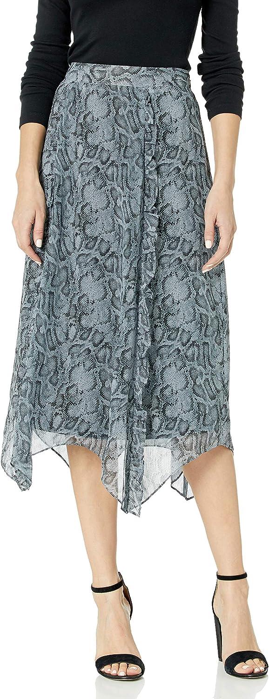 kensie Women's Snakeskin Printed Sharkbite Hem Midi Skirt