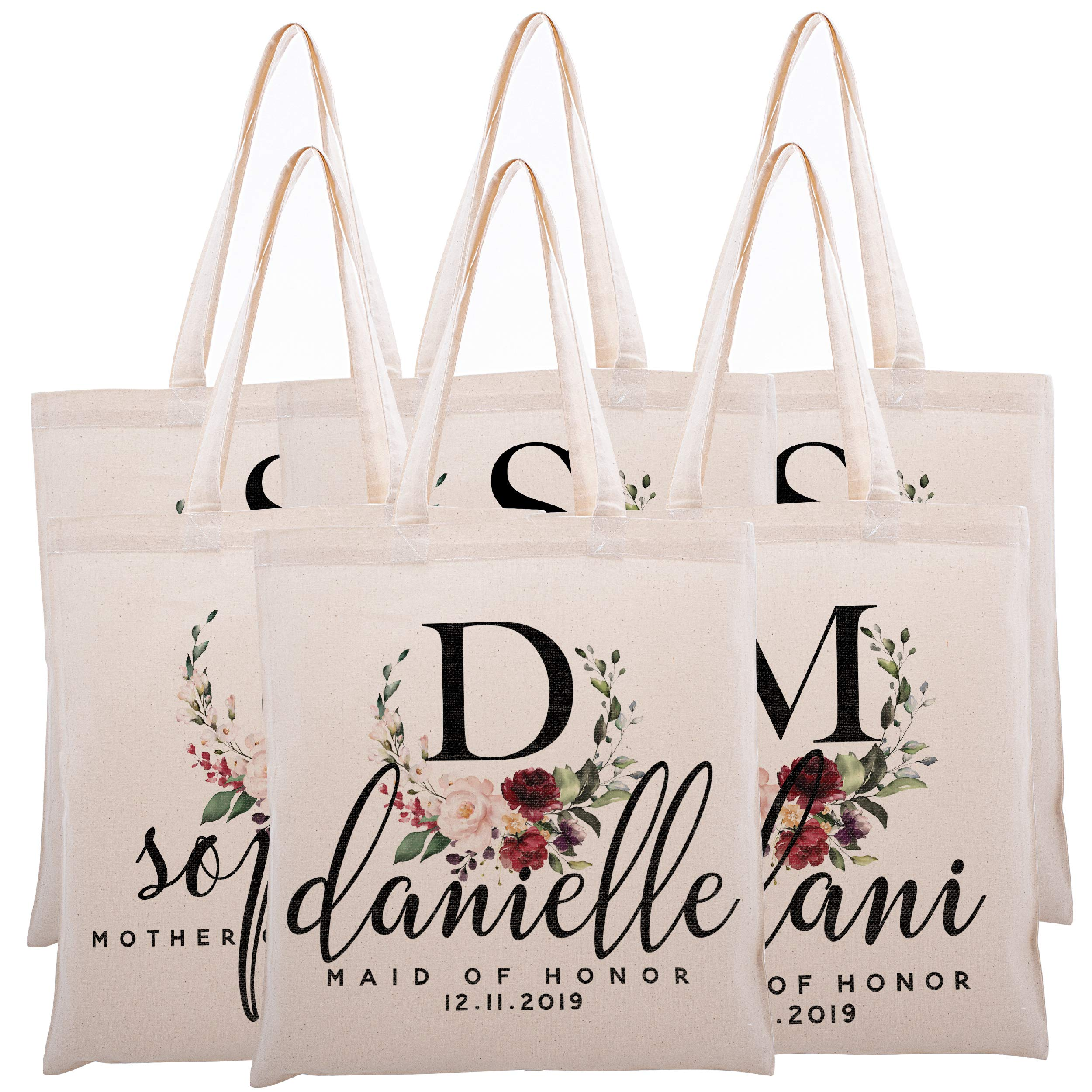 Personalized Tote Bag For Bridesmaids Wedding Customized Bachelorette Party Bag by Zexpa Apparel