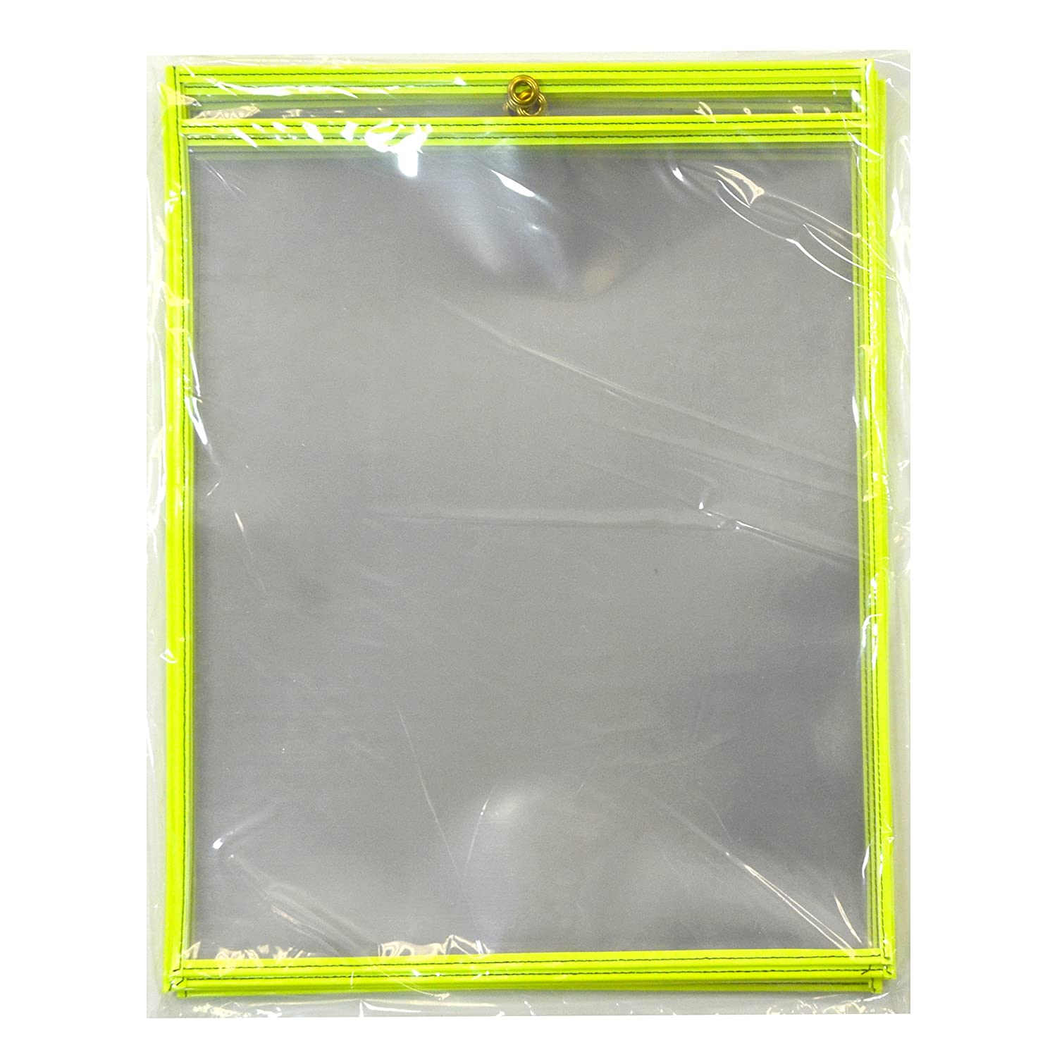 C-Line Stitched Shop Ticket Holders, Both Sides Clear, 11 x 17, 10 per Pack, Neon Green (40465) 11 x 17 C-Line Products Inc.