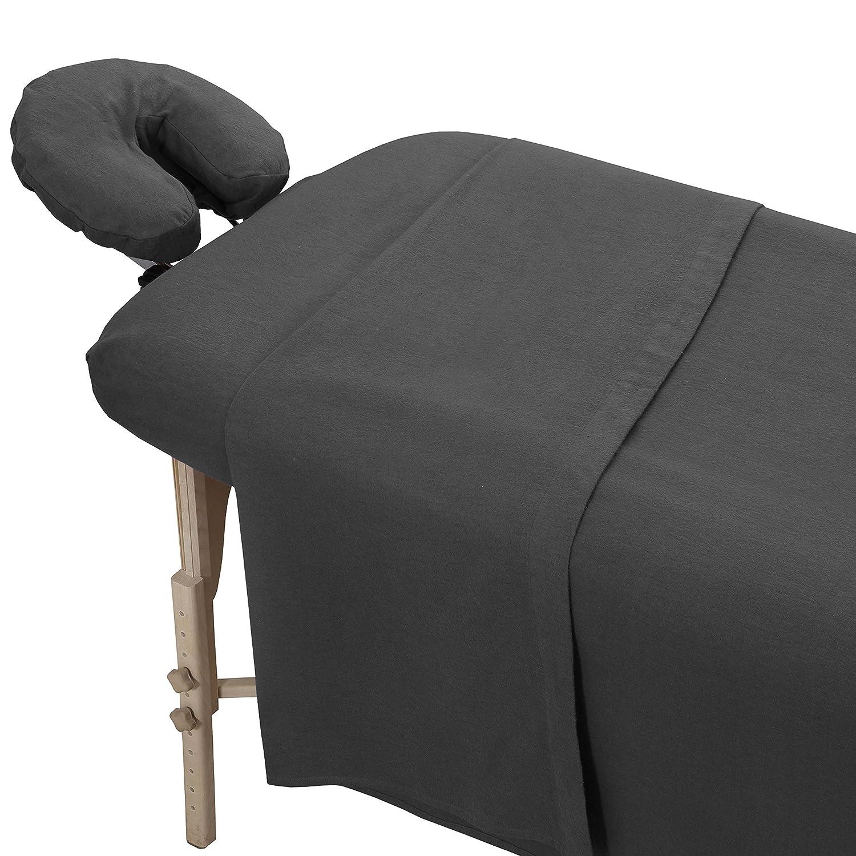 LONDON LINENS 100% Cotton Extra Thick Flannel Massage Sheet 3 PC Set (Greenish Grey)