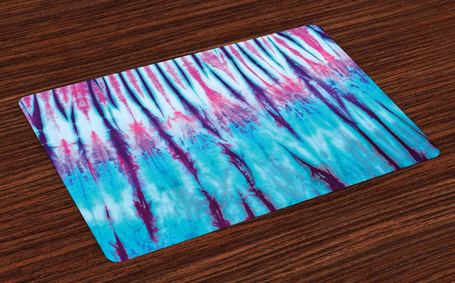 Ambesonne Ethnic Place Mats Set of 4, Close Up of Vertical Gradient Tie Dye Effect Hippie Alter Life Retro Artwork Print, Washable Fabric Placemats for Dining Room Kitchen Table Decor, Blue Pink