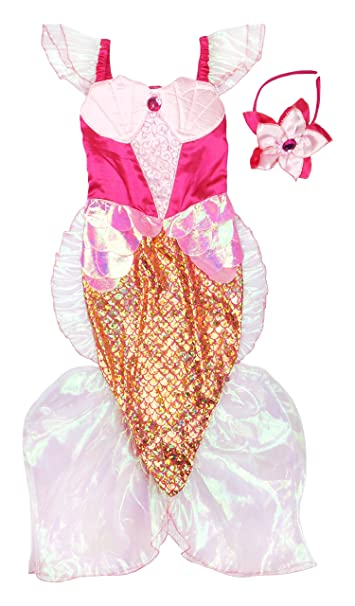 Creative Education Great Pretenders Pink Mermaid Dress u0026 Headband Pink ...  sc 1 st  Amazon.com & Creative Education Pink Mermaid Costume for Kids