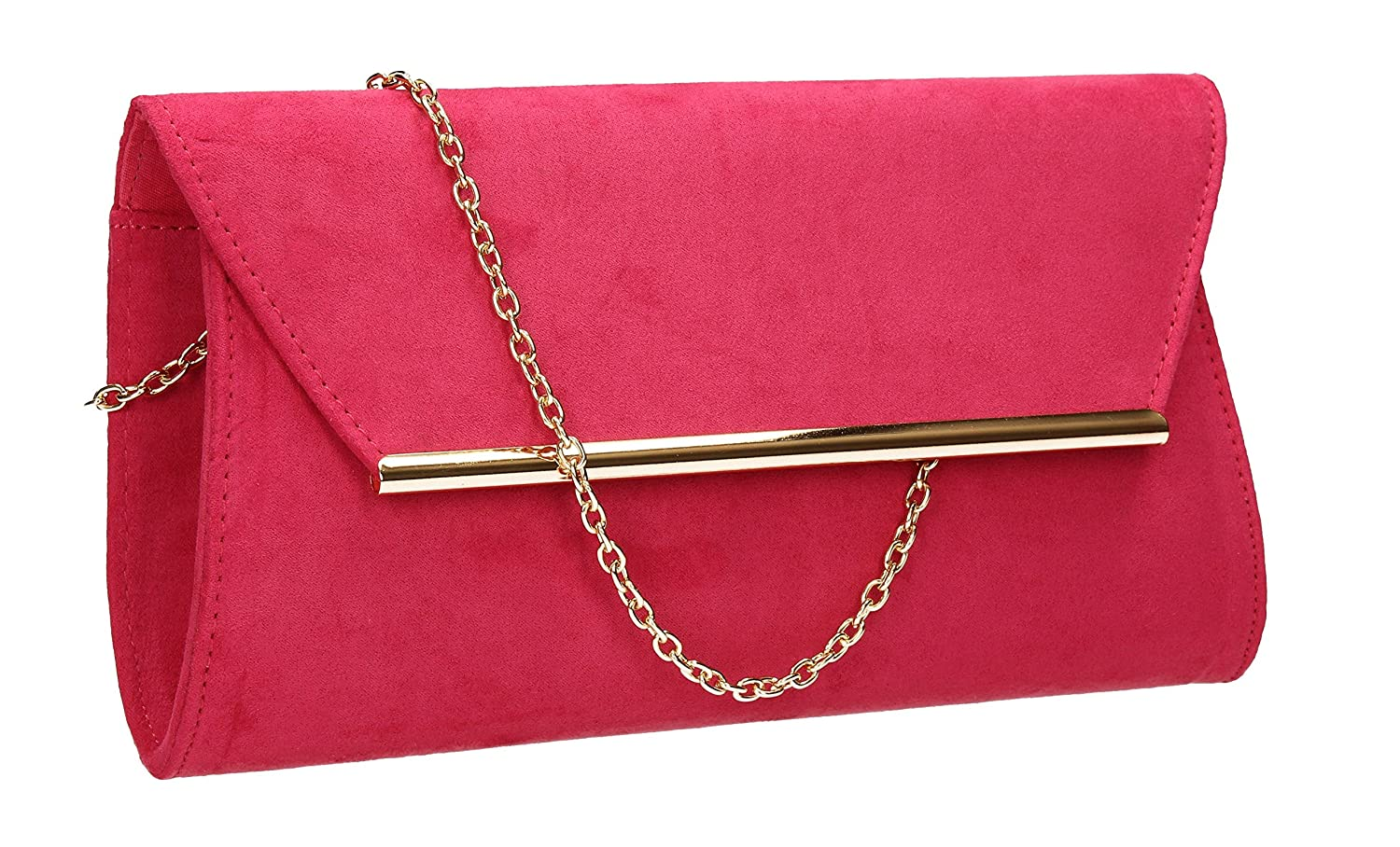 (Fuschia) - SwankySwans Women's Sabrina Suede Look Party Prom Clutch Bag Clutch B01EAWWQ14