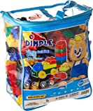 Set of 150 Piece Multi Colored Building Block Set with Wheeled Train Pieces and Carry Bag, Tons of Fun, Great for Kids & Toddlers by Dimple
