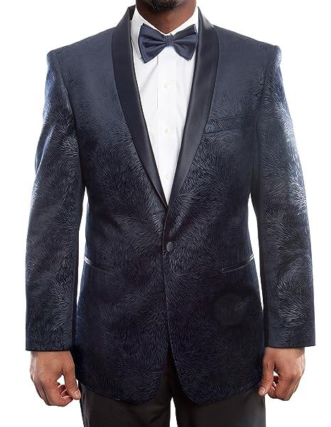 Amazon.com: Hombres Elegante Textura de terciopelo del traje ...