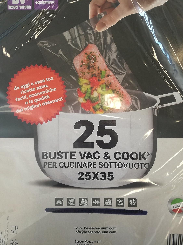 25 Buste Sacchetti Vac & Cook per Cucinare Sottovuoto 25 x 35, Made In Italy Besser Vacuum