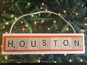 DASH Houston Soccer MLS Christmas Ornament Scrabble Tiles