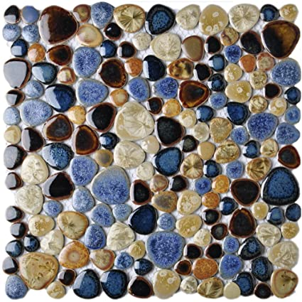 Glazed Blue Mosaic Ceramic Pebble Porcelain Tile Swimming Pool Bath Shower  Wall Flooring Tile TSTGPT001 (