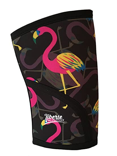 93515979ca Liberte Lifestyles 5mm Flamingo Print Knee Sleeves (Sold as Pair) for  Crossfit, Weightlifting