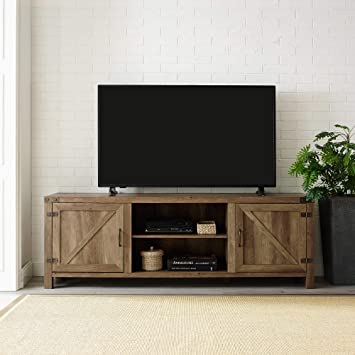Home Accent Furnishings Tucker 70 Inch Barn Door TV Console in Stone Grey
