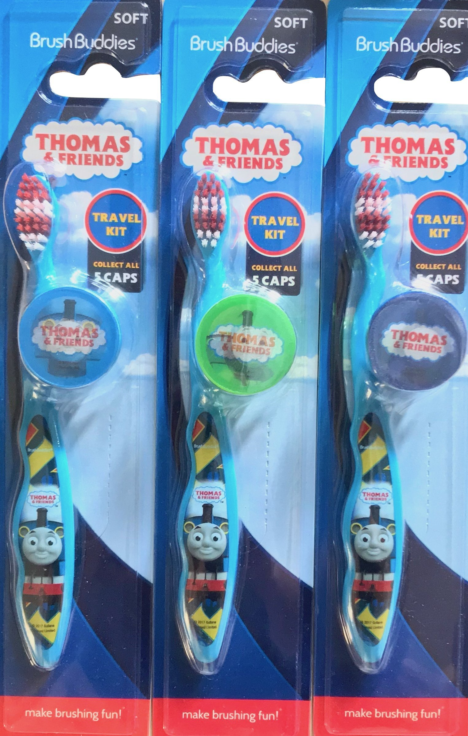 Brush buddies Thomas & Friends Travel Kids toothbrushes Pack of 3 With Caps