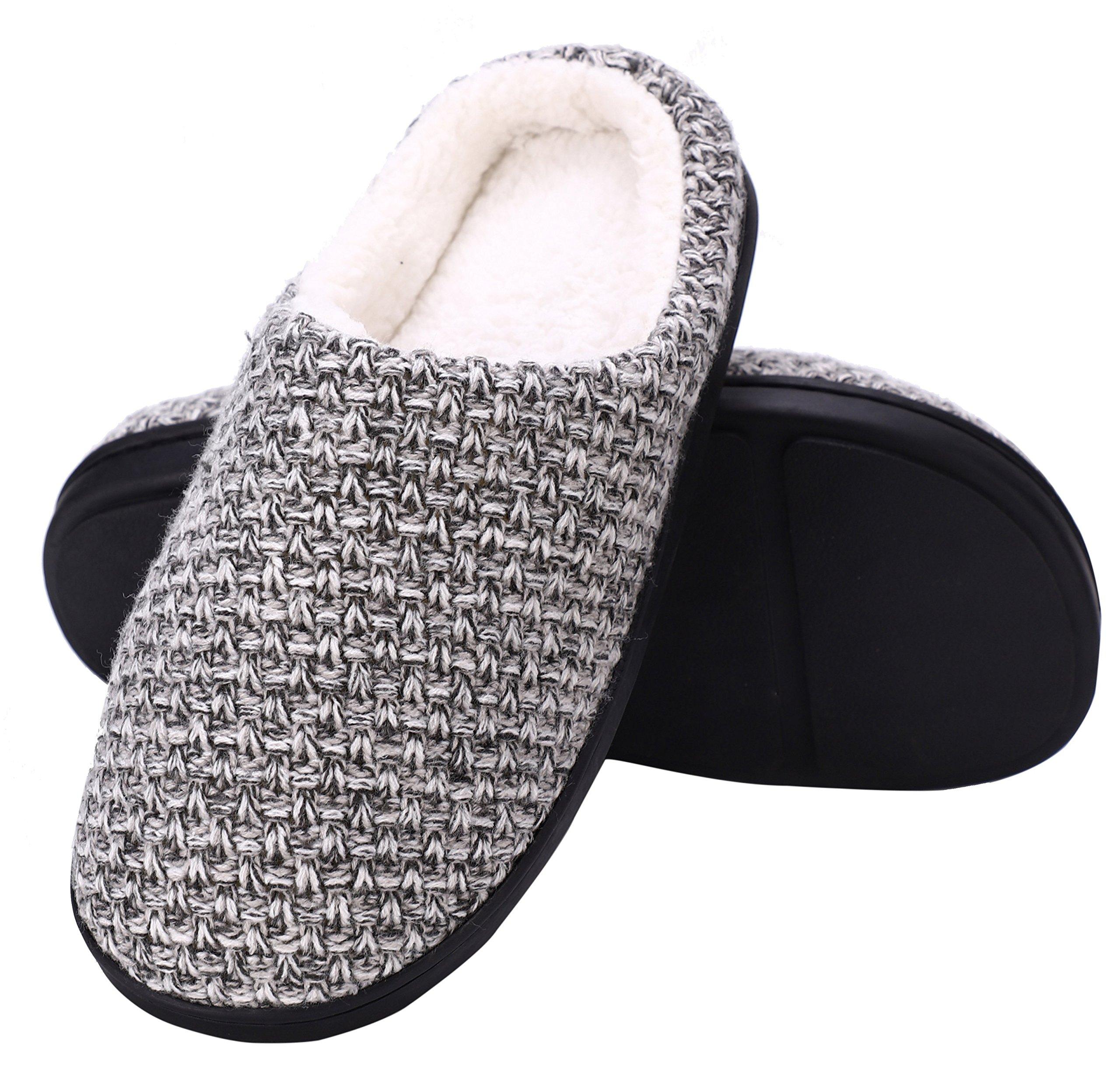DRSLPAR House Memory Foam Slippers Comfort Plush Lining Slip-on Knit Indoor Outdoor Shoes for Men Women(Grey-Beige X-Large)