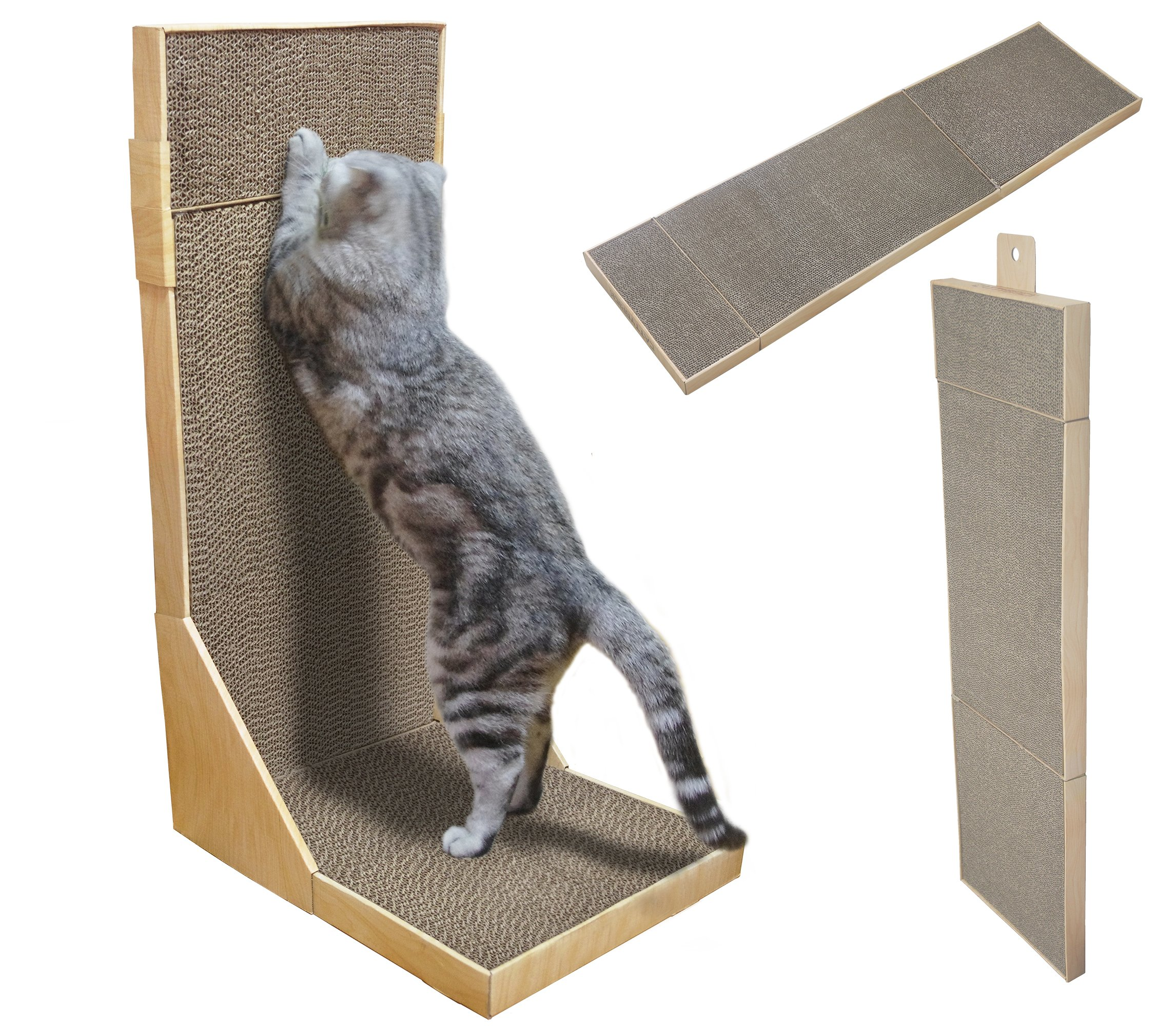 YOOGAO Pet Cat Scratcher/Extra Long 44'' Collapsible Scratching cardboard with Catnip