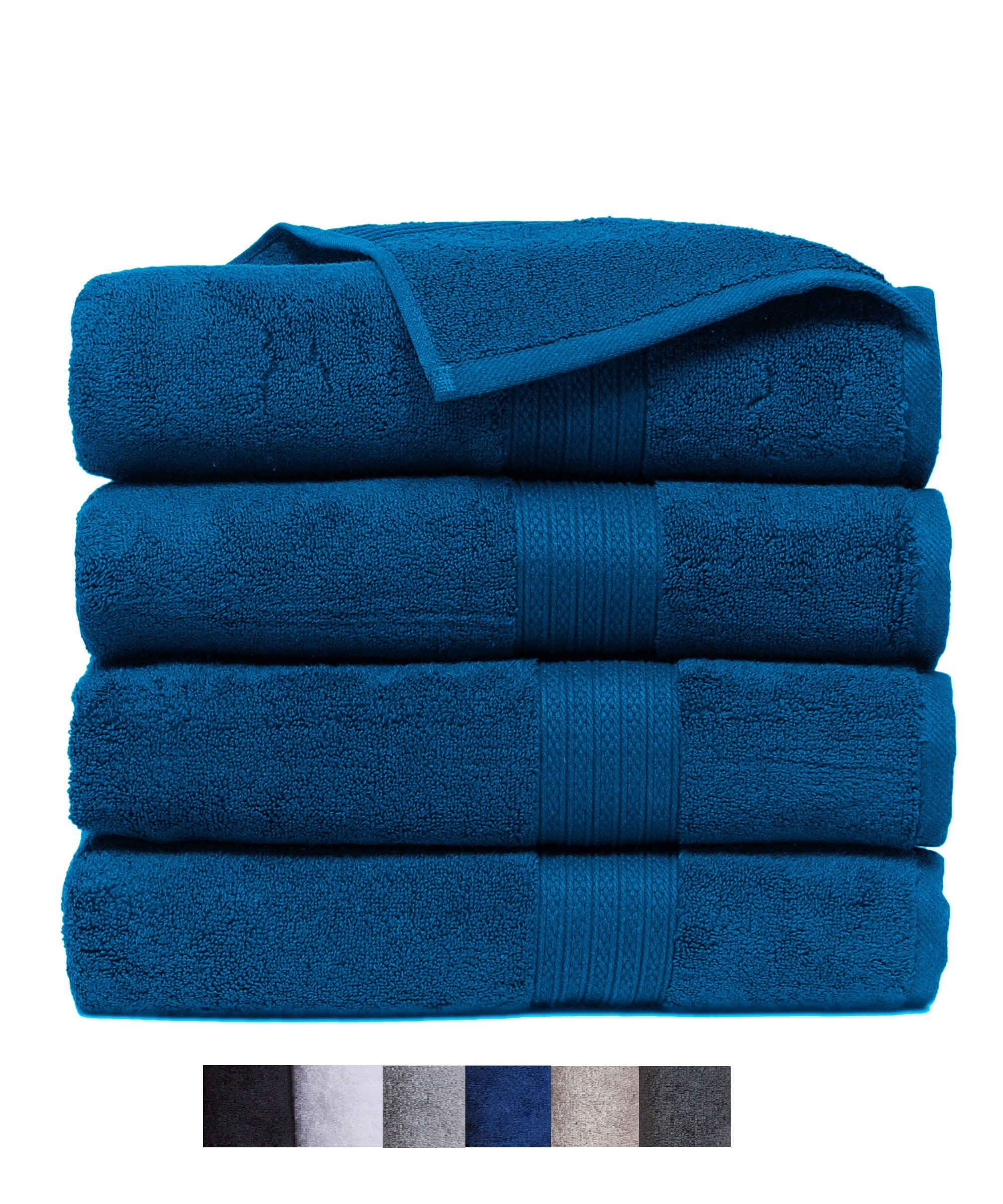 Casa Platino Quick Dry Super Zero Twist 4 Pack Large Bath Towel Set 28x54 7 Star Hotel Luxury Collection - 100% Pure Super Zero Twist Cotton (navy) by Casa Platino