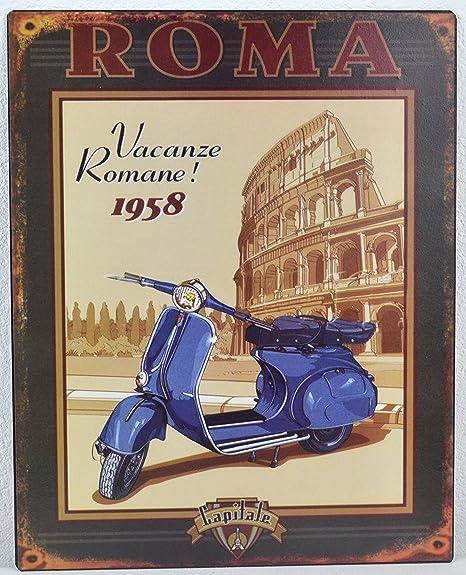 Cartel de chapa Vespa Roller Roma 20 X 25 CM Cartel de Retro ...