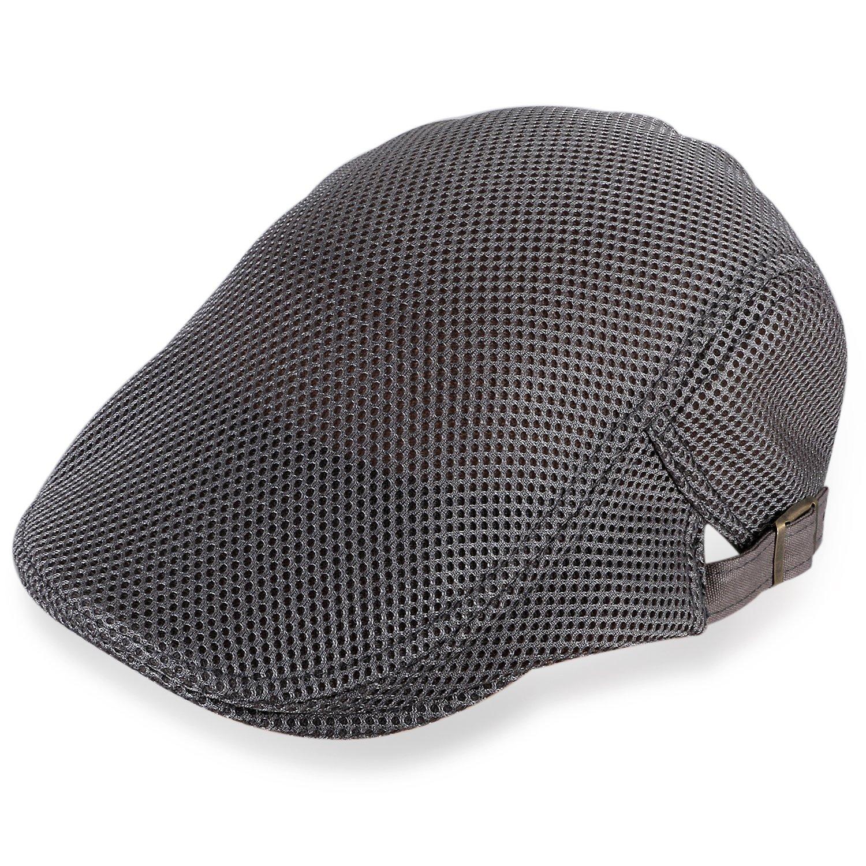TSWRK Men Breathable Mesh Summer Hat newsboy Beret IVY Cap Cabbie Flat Cap