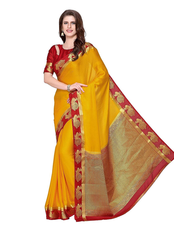 Kanchipuram Crepe Saree With Unstitched Blouse Piece