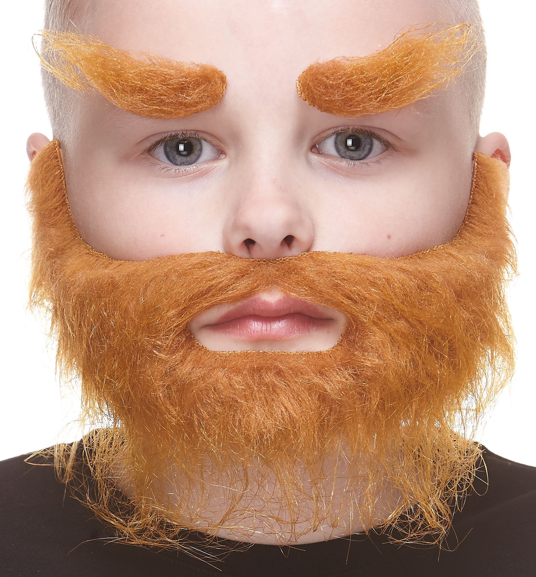 Mustaches Self Adhesive, Novelty, Fake, Small, Realistic Traper Beard, and Eyebrows, Ginger Color