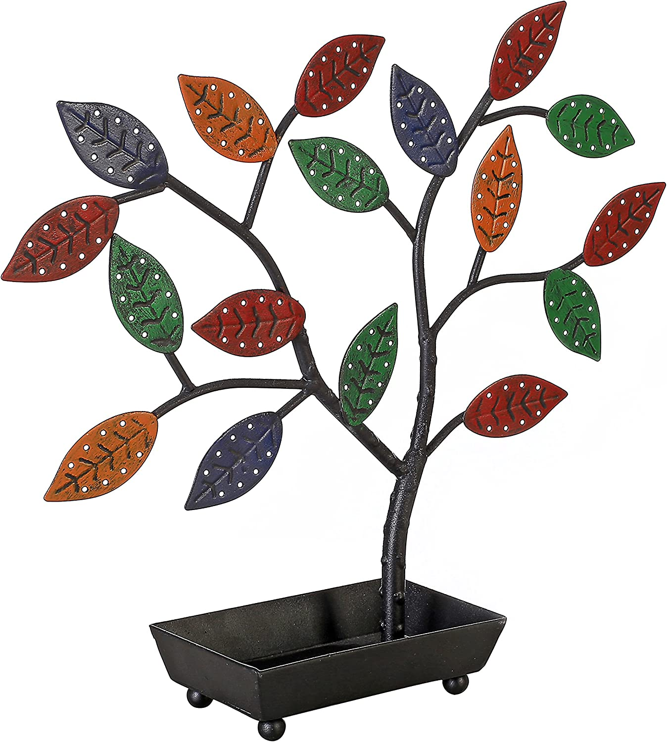 MyGift Jewelry Tree, Earring Necklace Hanger Holder with Ring Dish Tray, Multicolored