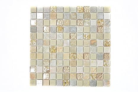 Piastrelle mosaico tessere di mosaico oro beige vetro pietra matt