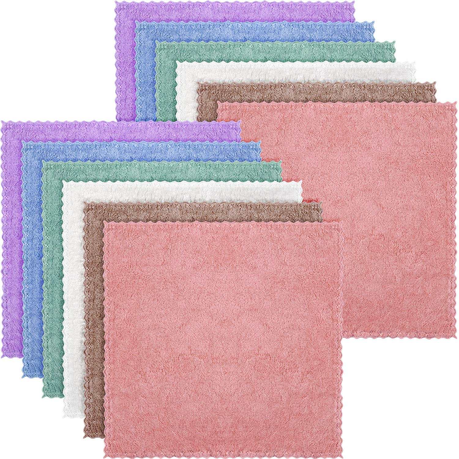 Face Cloths Microfiber Wash Cloth Facial Cleansing Cloth for Face, Soft (10 x 10 Inch, 12 Pieces)