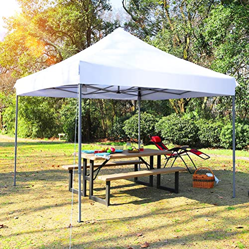 PHI VILLA 10 x 10 Instant Commercial Canopy Straight Leg Pop-up Canopy for Backyard, Party, Event, 100 Sq. Ft of Shade, White