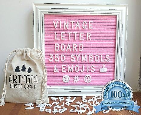 Tablero de carta de fieltro rosa con 350 letras intercambiables con soporte elegante y montaje de pared / Tablero de carta Vintage 10x10 / Tablero de ...
