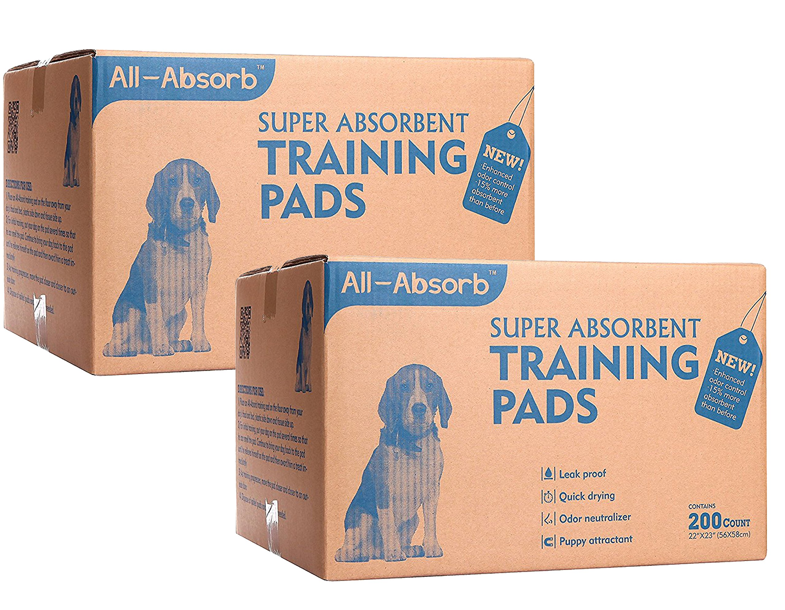 All-Absorb 200 Count Bulk Packaging Training Pads, 22'' x 23'' (400-Count)