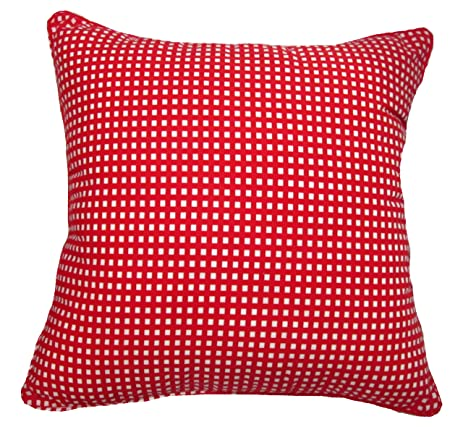 Amazon 24x24 Red Gingham Cotton Decorative Throw Pillow Cover