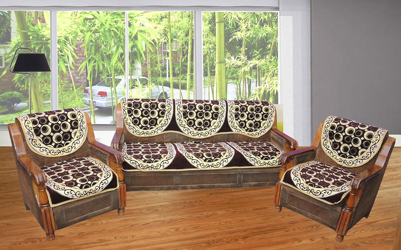 Buy Hargunz Royal Brown 5 seater sofa cover set line at Low