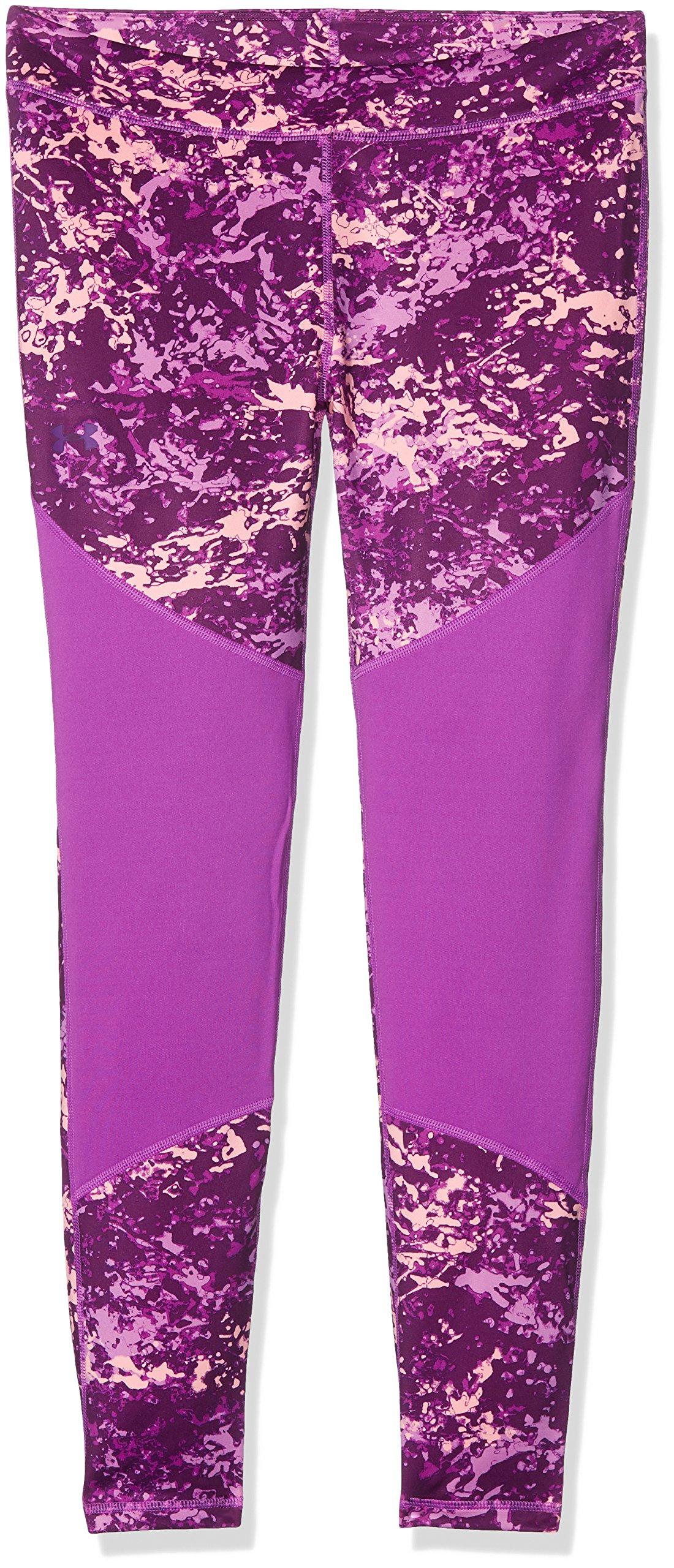 Under Armour Girls' ColdGear Novelty Leggings,Purple Rave (959)/Indulge, Youth X-Large