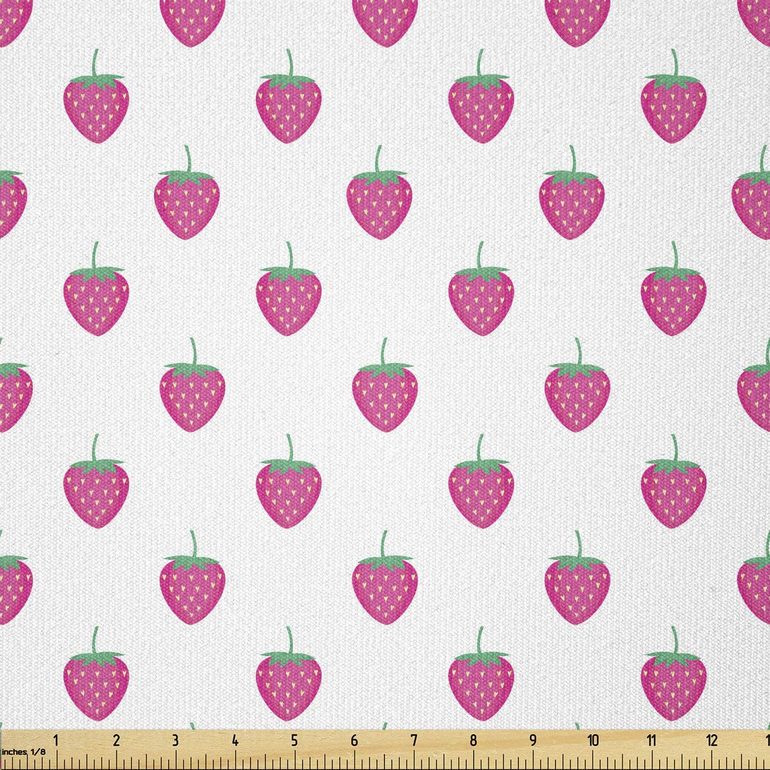 Lunarable Strawberry Fabric by The Yard, Fruits Pattern Nursery Childish Summer Food Lover Illustration, Stretch Knit Fabric for Clothing Sewing and Arts Crafts, 1 Yard, Green Magenta