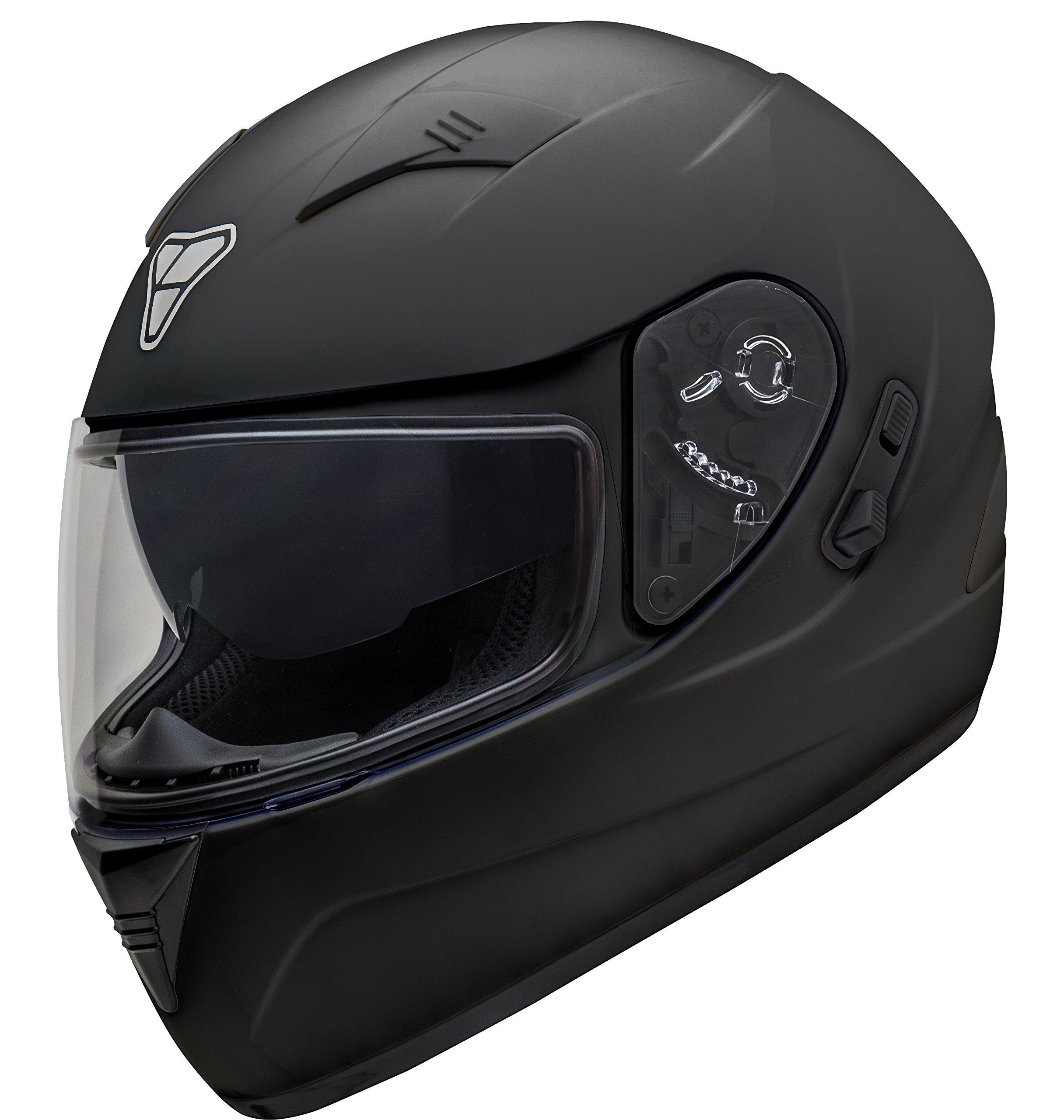 Pilot Motosport ST-17 Full-Face Motorcycle Helmet (Matte Black, Large)