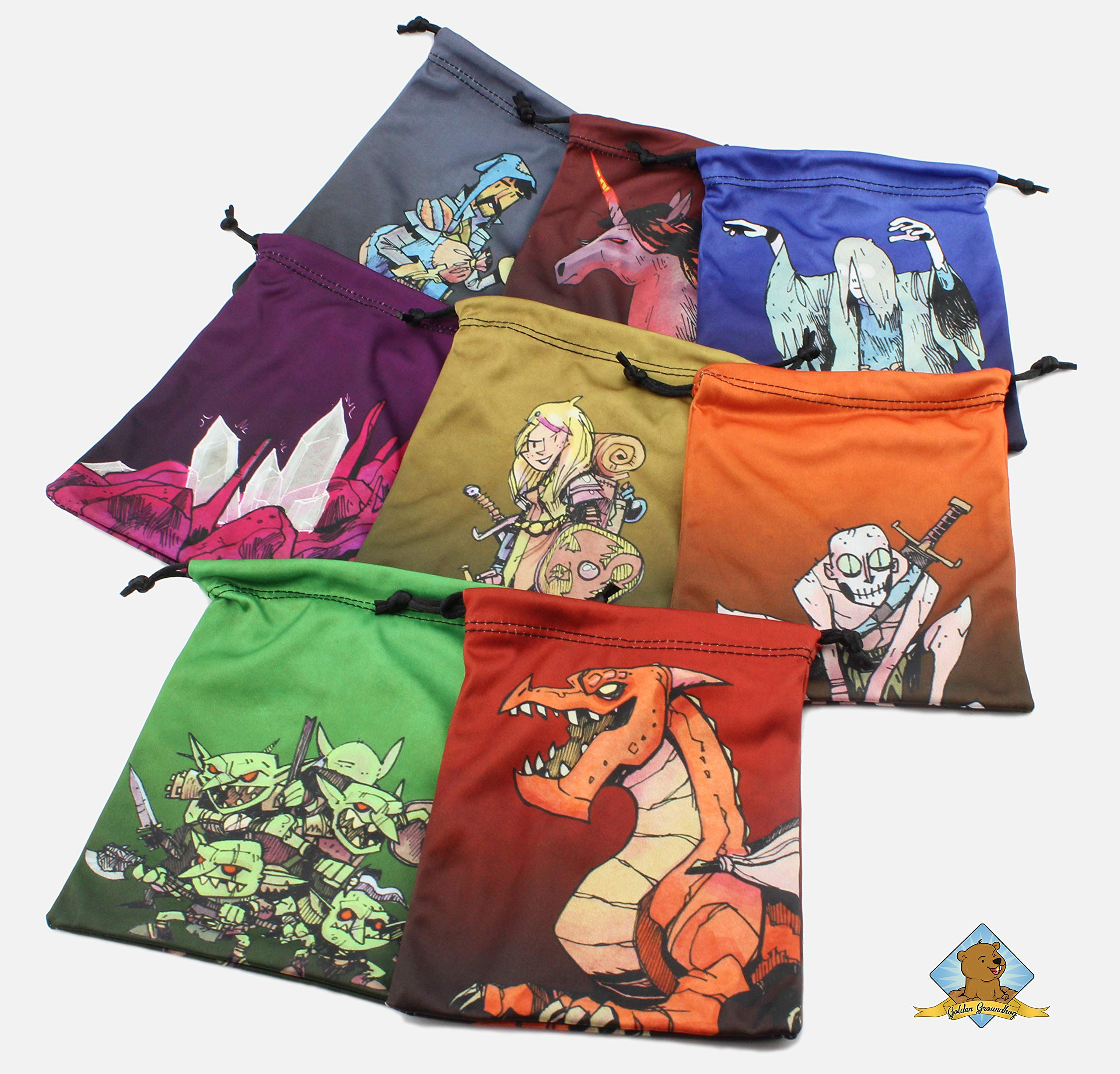 Set of 8 Drawstring Bags to Store Each Character for Board Games Compatible to Vast!