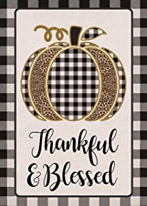 Furiaz Thanksgiving Garden Flag Thankful & Blessed Buffalo Plaid Check Home Decorative House Yard Outside Small Flag Fall Leopard Pumpkin Decor Double Sided Farmhouse Seasonal Outdoor Decoration 12x18