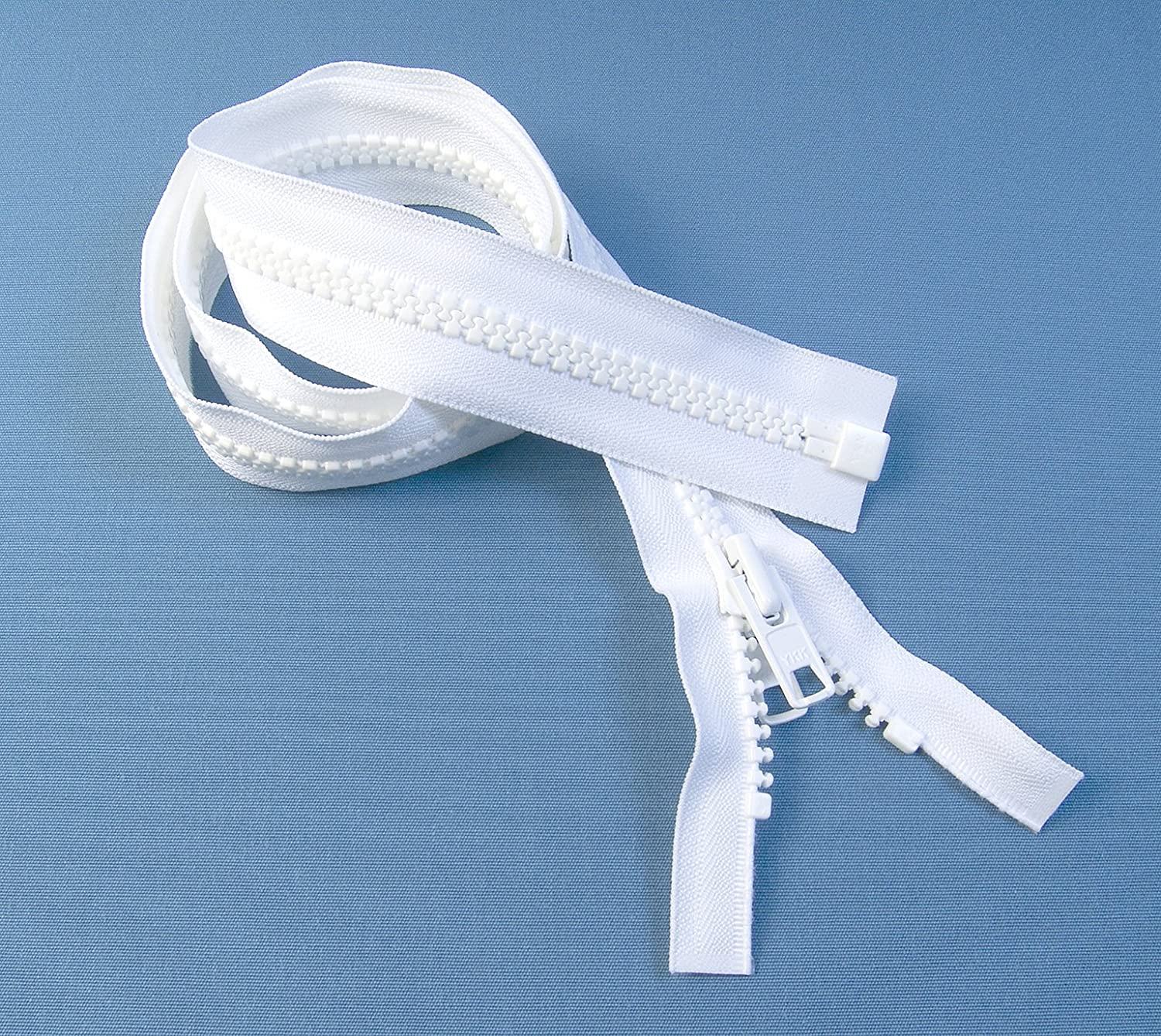 YKK #10 Boat Top Zipper, White 30 Inch, Seperating Double Metal Tab Slider White 30 Inch 30YKKVIS