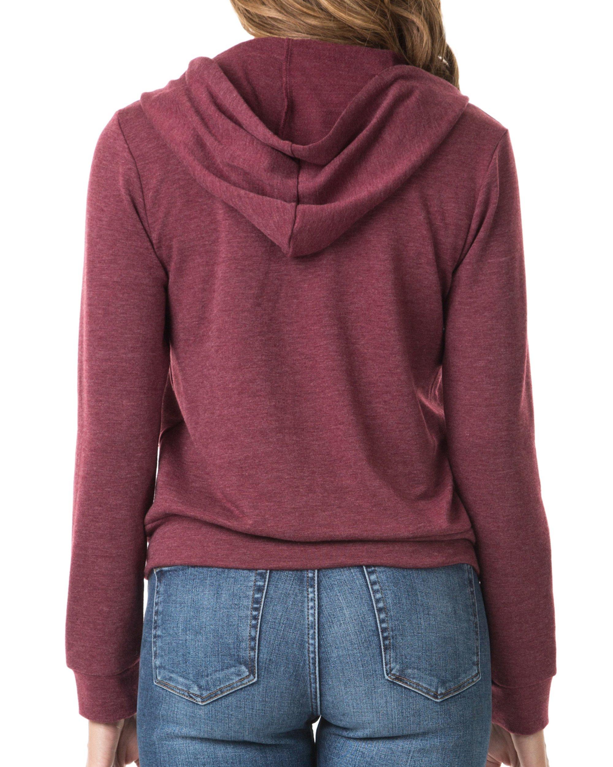 Nolabel B7_032 Women's Long Sleeve French Terry Drawstring Hoodies Zip Up Sweatshirt Hooded (Burgundy/5XL) by Nolabel (Image #3)