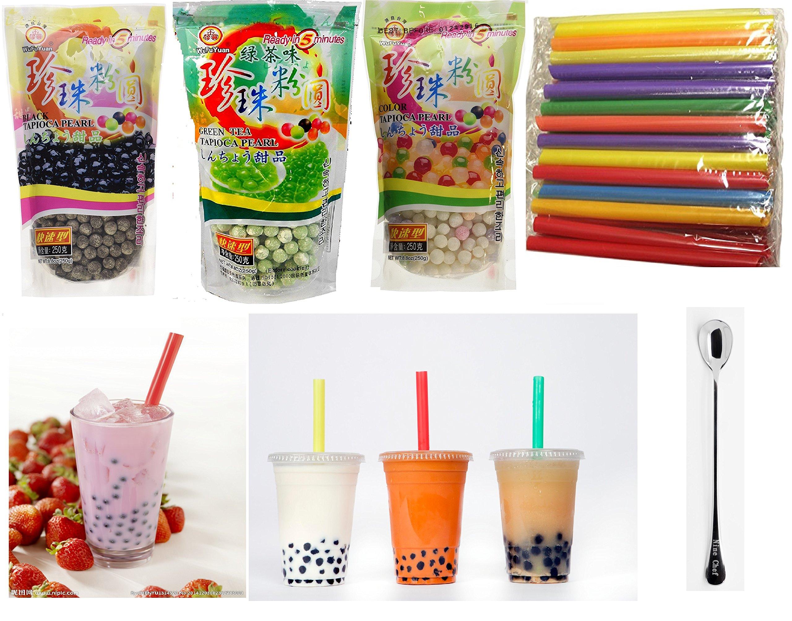 Wufuyuan - Tapioca Pearl (Black) - Net Wt. 8.8 Oz + multicolor pear + Green Tea Pearl + 50 Bubble Tea Straws + one ninechef Spoon Per order by NineChef