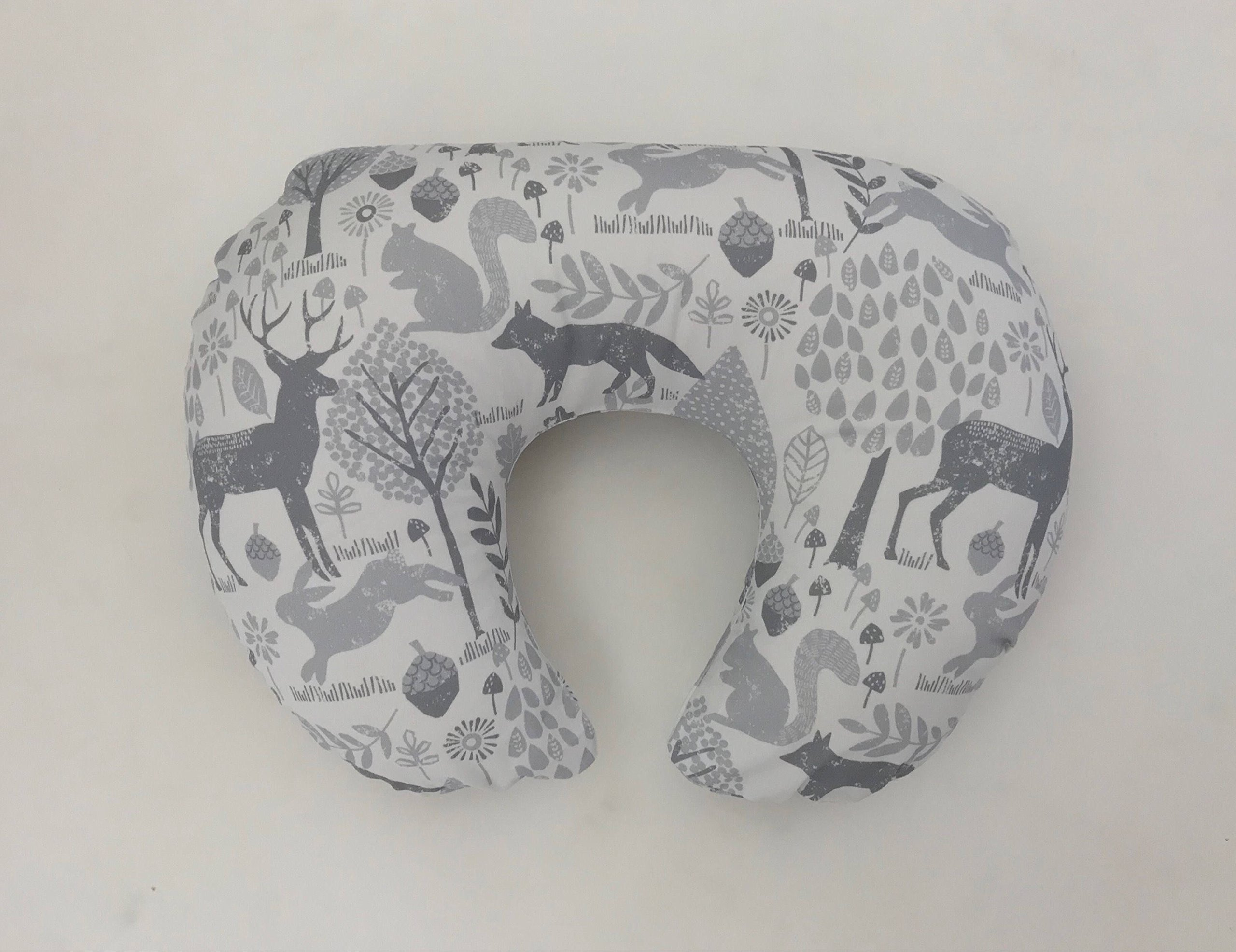 Nursing Pillow Cover - Grey Woodland Animals