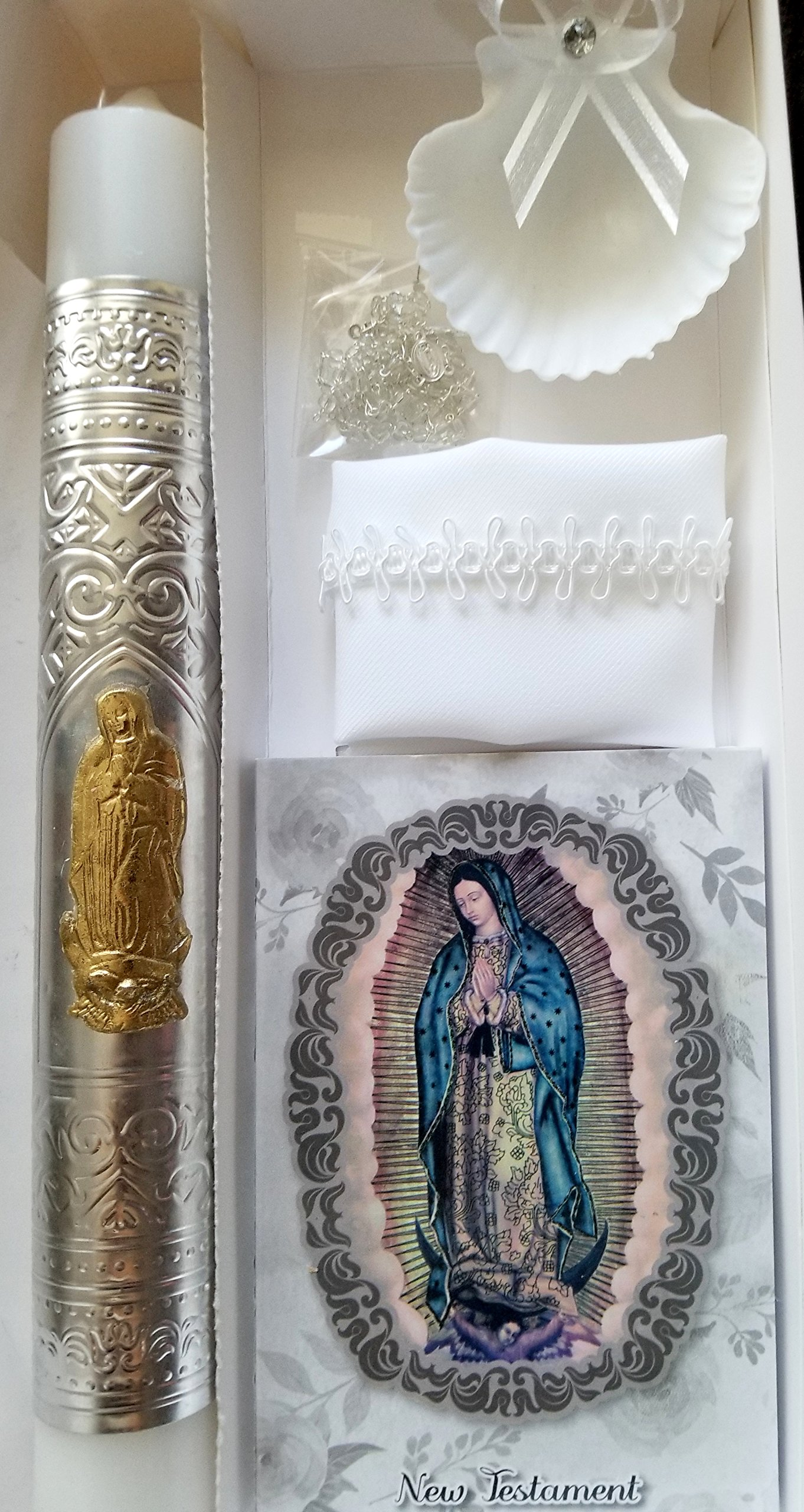 English Handmade Christening/Baptism Set For Girl, Boy Lady of Guadalupe Virgen : Candle, New Testament, Dry Cloth, Sea Shell, and Rosary -Bautizo Religious Gift