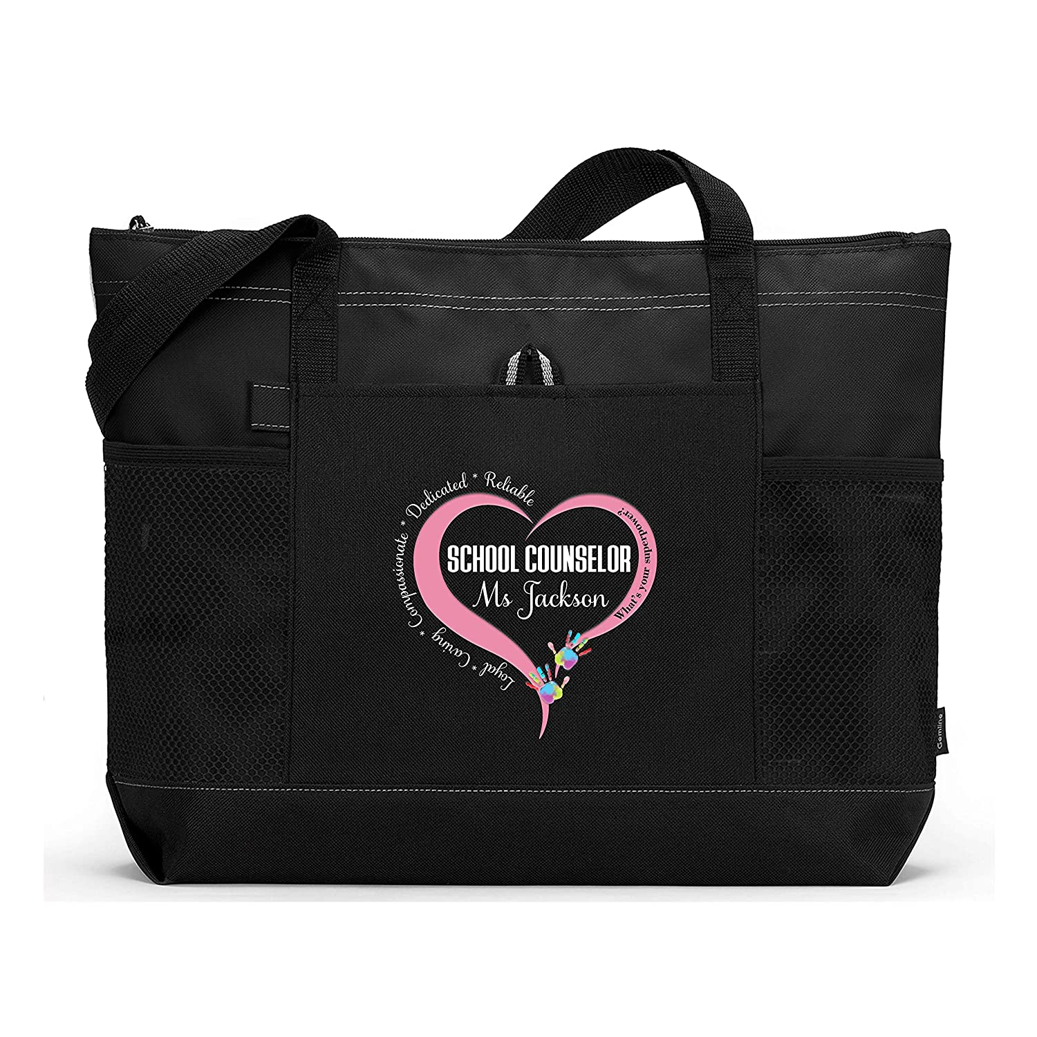 School Counselor Loyal Caring Compassionate Personalized Printed Tote Bag with Mesh Pockets