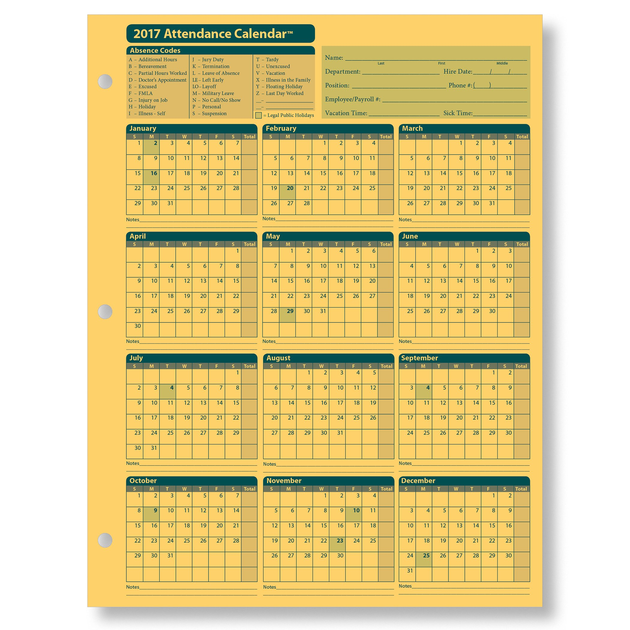 ComplyRight Attendance Calendar Card 2017, Yellow, Pack of 25