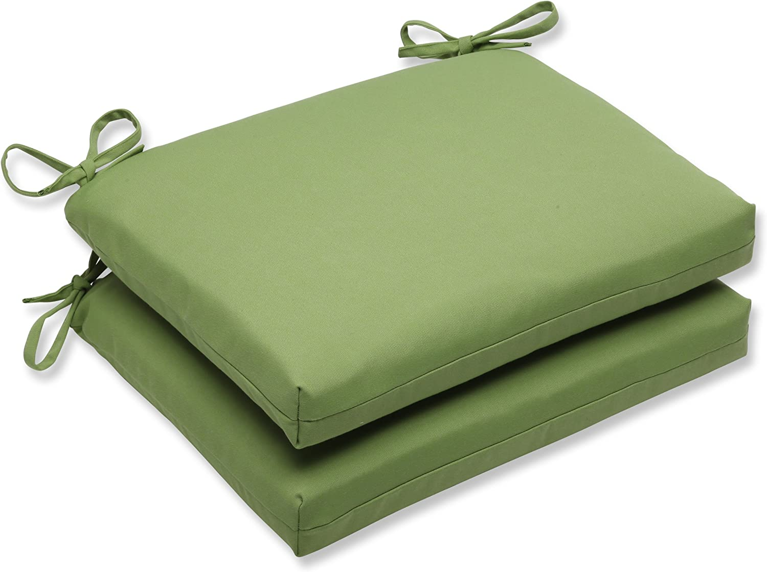 Pillow Perfect Indoor/Outdoor Squared Corners Seat Cushion with Sunbrella Canvas Ginkgo Fabric, Set of 2, 18.5 in. L X 16 in. W X 3 in. D, Green