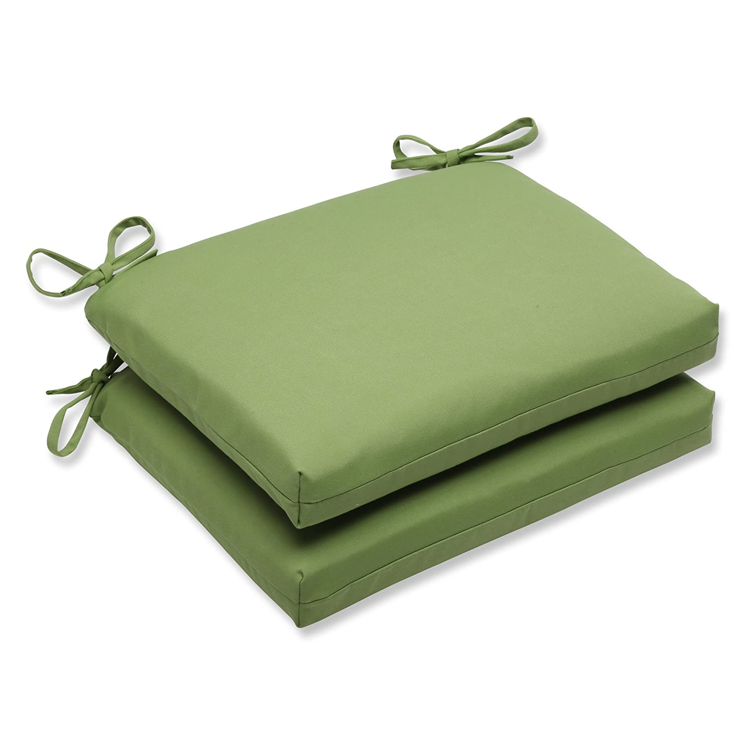 Pillow Perfect Indoor Outdoor Squared Corners Seat Cushion with Sunbrella Canvas Ginkgo Fabric, Set of 2, 18.5 in. L X 16 in. W X 3 in. D, Green