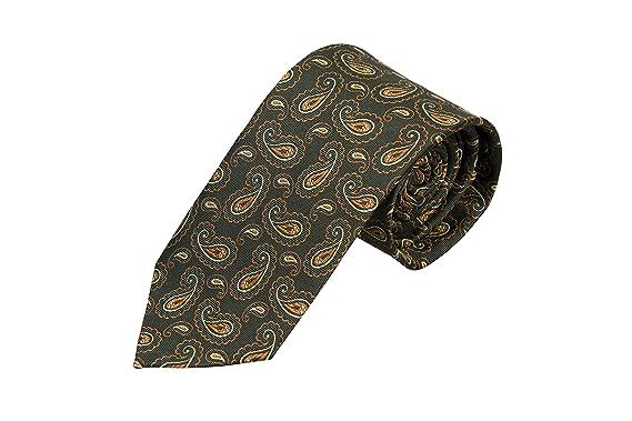 Necktie - Paisley in hunter dar, gold orange & light green Notch