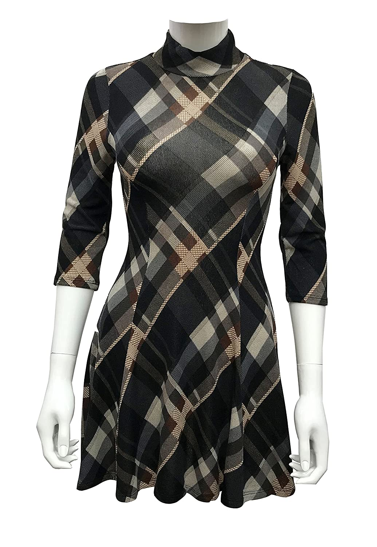 Dontyouwannabe DYWB Women's Plaid Print Knit Sweater Dress With A-Line Skirt and Mock Neck